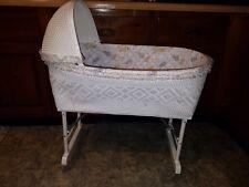 Vintage Wicker Baby Bassinet Bed Cradle With Hood