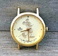 DISNEY Lorus MICKEY MOUSE Gold Tone Silhouette Analog WATCH Face Vintage