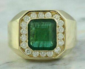 4.50 CT Emerald Cut Emerald & Diamond Men's Engagement Ring 14k Yellow Gold Over