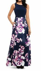 X by Xscape Women's Dress Blue Size 4 A-Line Floral Skirt Mesh Side $179 #361
