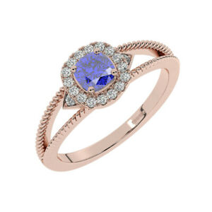 8MM Claw Set Round Brilliant Cut Diamonds, Blue Sapphire Halo Ring 9K Rose Gold