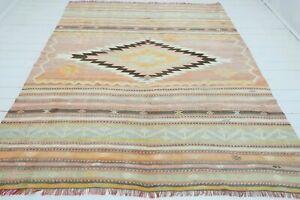"Antique Milet Kilim, Diamond Design Rug,  Pastel Color Kelim Wool Carpet 84""x103"