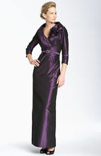 Teri Jon Purple Rosette Empire Taffeta 3/4 Sleeve Column Evening Gown Dress 4