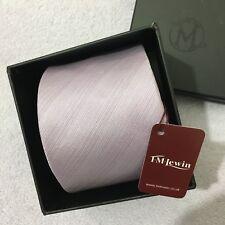 Da Uomo T.M. Lewin fatto a mano seta 8.5 cm Lilla con trama a Righe Cravatta Di Seta + Scatola Regalo
