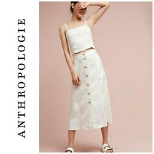 New Anthropologie x Akemi & Kin Riverene Sz 10 White Button Front Midi Skirt