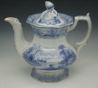 ANTIQUE STAFFORDSHIRE 1840 SHANNON PATTERN ACORN FINIAL TEAPOT BLUE TRANSFERWARE