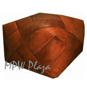 MPW Plaza ZigZag Pouf, Rustic Brown, Moroccan Leather Ottoman (Un-Stuffed)