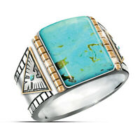 Wholesale Vintage Handmade 925 Silver Turquoise Ring Women Men Jewelry Size 6-12