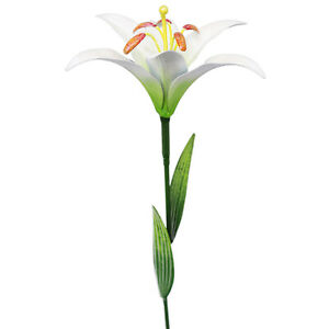 SET OF 2 Primus Metal Flower Stake White Lily Garden Ornament Hand Painted 83cm
