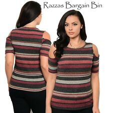 New Ladies Rust Knited Stripped Top Plus Size 14/1XL (1090)OS