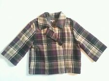 Sashimi Nordstrom Women's Coat 3/4 Sleeves Gray Purple Plaid Wool Size Small