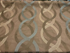 Wave Links Spa Blue Embroidered Faux Silk Polyester Drapery Fabric by the yard