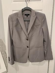 Ann Taylor petit suit gray sz 8 10 two piece suit Office Boss  lady Blazer Pants