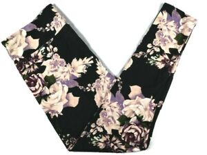 Lularoe Womens Leggings TC2 18-28W Black Purple Roses Floral Tall & Curvy 2 New