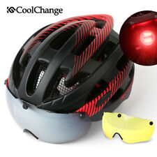 Outdoor Adult Cycling Helmet Women Bike Safety Helmet Red With Magnetic Goggles