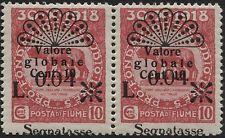 FIUME - 1921 - segnatasse - coppia 0,04 su 10 - Varietà - Sassone n.26o - MH