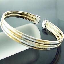 BANGLE CUFF BRACELET GENUINE REAL 18K MULTI-TONE G/F GOLD SOLID LADIES DESIGN
