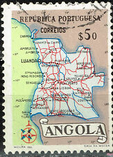 Angola Portuguese Colonial Empire detailed map old stamp 1954