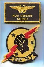 RON SLIDER KERNER TOP GUN MOVIE COSTUME US NAVY Emb Name Tag Squadron Patch Set