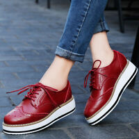 Womens Patent Leather Shoes Vintage Girls Casual Shoes Oxfords Lace Up Brogue A3