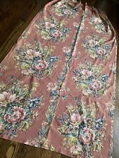 Vintage Rose Floral Cotton Barkcloth Fabric Single Curtain Panel Used Repurpose