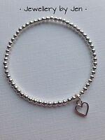 Bracelet Silver Plated Mini Open Heart Beaded Stretch Elastic Handmade