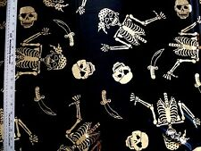 HALLOWEEN GOLD FOIL SKULLS BONES  ON BLACK 100% POLYESTER FABRIC BY THE 1/2 YARD