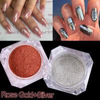 2box Mirror Powder Silver + Rose Gold Effect Nail Art Glitter Chrome Pigment DIY