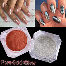 2box Mirror Powder Silver + Rose Gold Effect Nail Art Glitter Chrome Pigment DIY