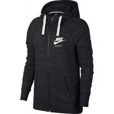 Nike Felpa cappuccio Donna W Gym Vintage hoodie Full Zip Black/sail S