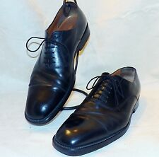 Santoni Made in Italy Black Calfskin Balmoral Dress Oxford Cap Toe Shoes 13 D
