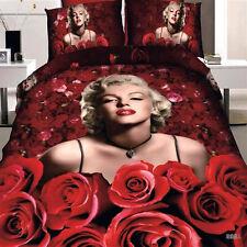 3D Marilyn Monroe Red Rose Flower Bed Bedding Sheet Set Duvet Cover Pillowcase