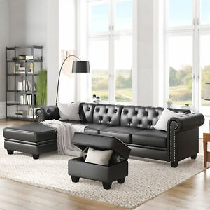 """116"""" Chesterfield Sectional Sofa Set, PU Leather 4-Seat Living Room Set L-Shape"""