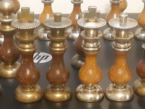 Vintage BRASS & SILVER METAL W/ Wood Inserts Chess Men Set NO BOARD