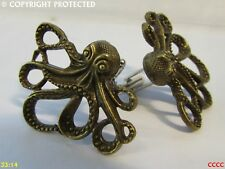 steampunk jewellery cufflinks bronze octopus kraken pirate Black Sails
