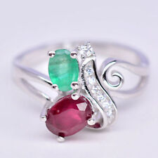 Natural RUBY & EMERALD Birthstone & CZ 925 STERLING SILVER RING S6.75