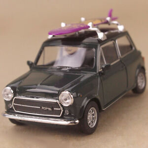 1990 Dark Green Mini Cooper 1300 Purple Surfboard Diecast 1:34 10cm long Opens