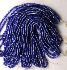 Vintage Antique Denim Blue Fine Round Glass 10/0 Seed Beads FIVE Mini Hanks Lot