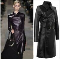 Womens Double breasted Leather Belt Trench Coat Slim Jacket Long Parkas Sz