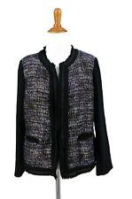 CHICOS Blazer 1 Purple Black Gold Plaid Tweed Wool Blend Jacket M