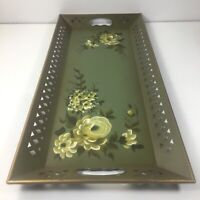 "Vintage Green Hand Painted Floral Nashco Metal Toleware Serving Tray 22"" X 10"""