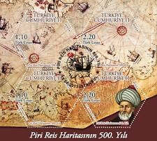 TURKEY 2013, 500th ANNIVERSARY OF WORLD MAP DRAWN BY PIRI REIS, BLOCK, MNH