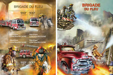 Fire Engines Special Transport Firefighters Central Africa MNH stamp set