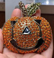 Huge Heidi Daus Costume Brass Rhinestone Pumpkin Brooch!!🎃