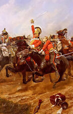 Oil painting caton woodville - life guards charging at the battle of waterloo