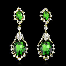Light Green Royal Crystal Statement 18K Gold Plated Earring