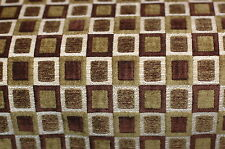 Rich Brown Green Chenille Squares Upholstery Fabric 1.75 Yards
