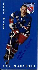 Autographed 1994 Parkhurst Tall Boy Don Marshall Card #88 New York Rangers
