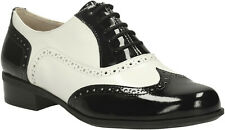 Clarks BNIB Ladies Lace-up Shoes HAMBLE OAK Black / White UK 6 / 39.5