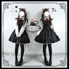 Japanese Sweet Lolita Vintage Princess JSK Apron Suspender Dress Black Kawaii